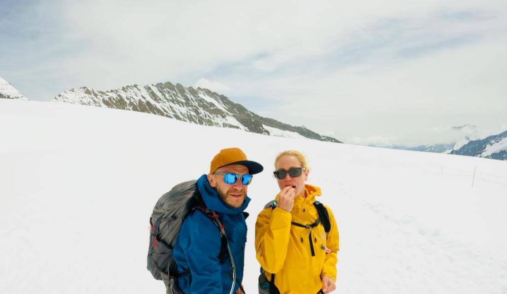 Auf dem Jungfraujoch im Schnee