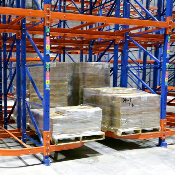 Frazier Ergo Deep pallet racking enables case picking by means of a walk through aisle in a refrigerated warehousing application.