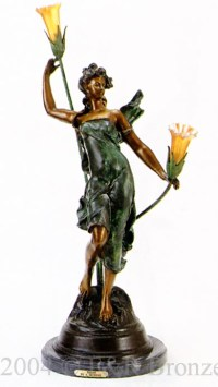Diane bronze statue lamp by Auguste Moreau