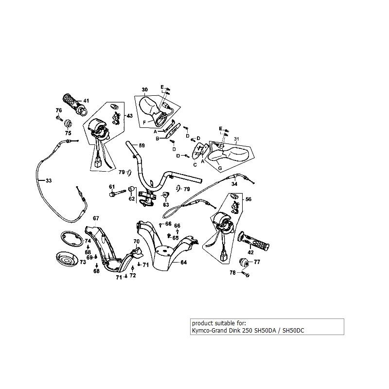 Bovden plina Kymco Grand Dink 250 SH50DA / SH50DC