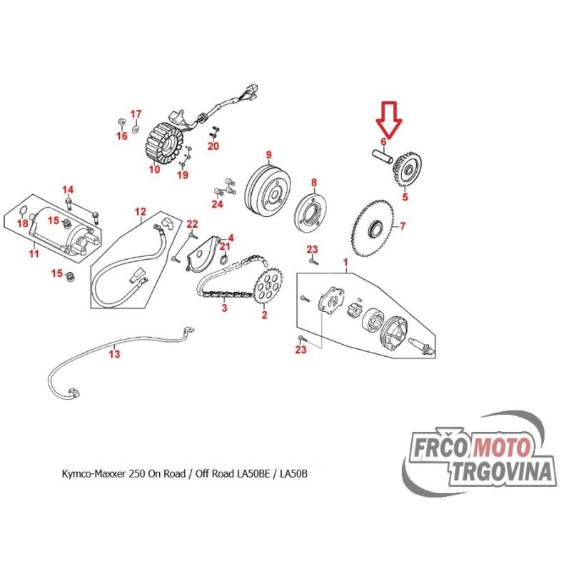 Shaft starter reduction gear for Kymco MXU 250 , Maxxer