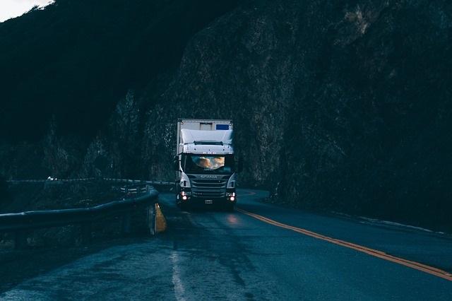 Road at night semi truck