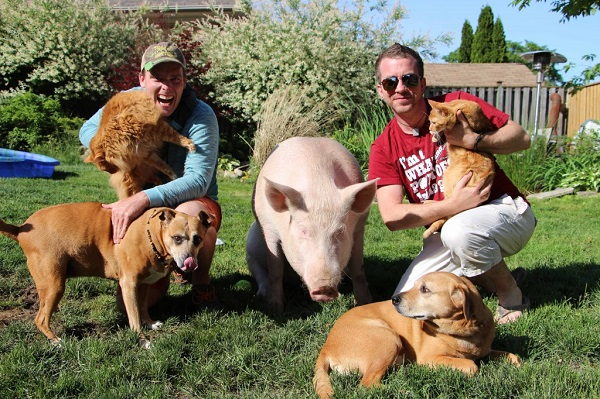 teven and Derek with animals