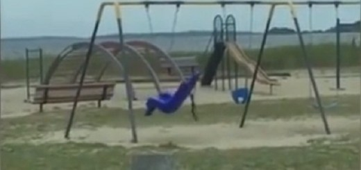 Dad films ghost swing at the playground