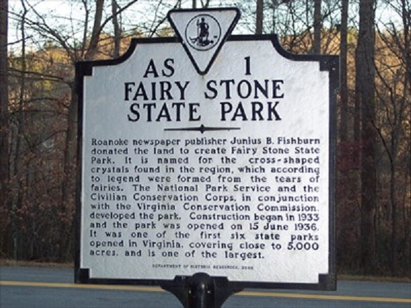 Fairy Stone State Park sign notice
