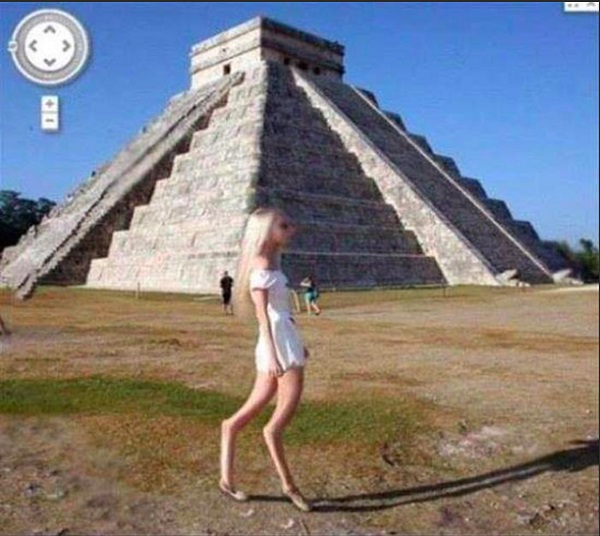 Tall White Alien at Temple of Kukulkan