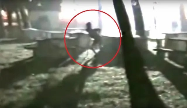 Alien in graveyard circled