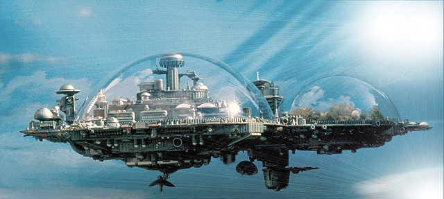 Future Earth floating cities in sky