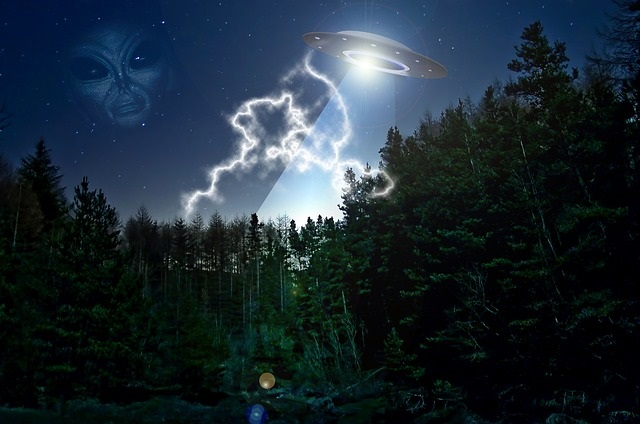 Alien UFO flying in sky