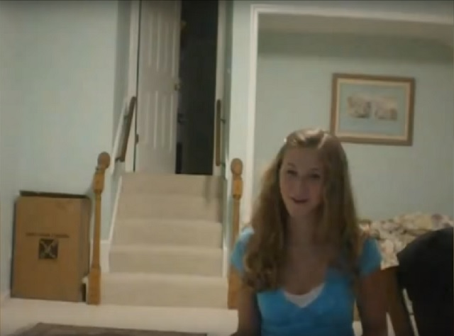 Girl encounters staircase ghost