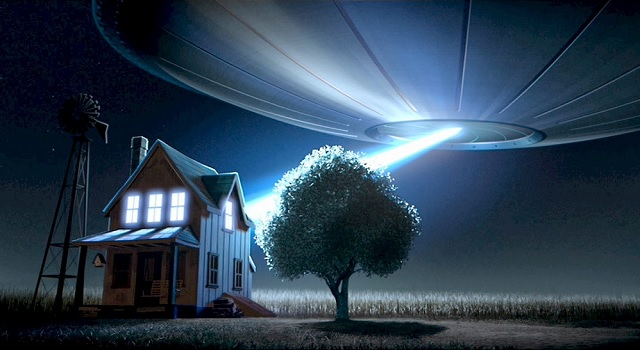 Alien abduction at night