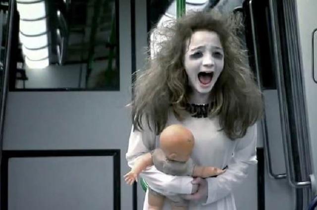 Ghost girl on subway prank