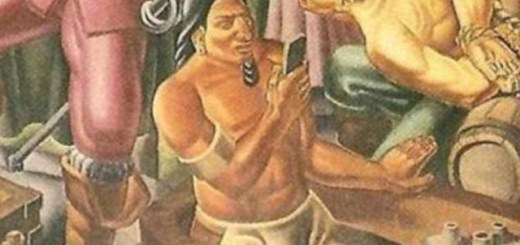 Native American spotted holding cell phone from 1937 painting
