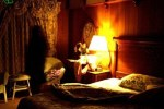 Room during night with shadow ghost