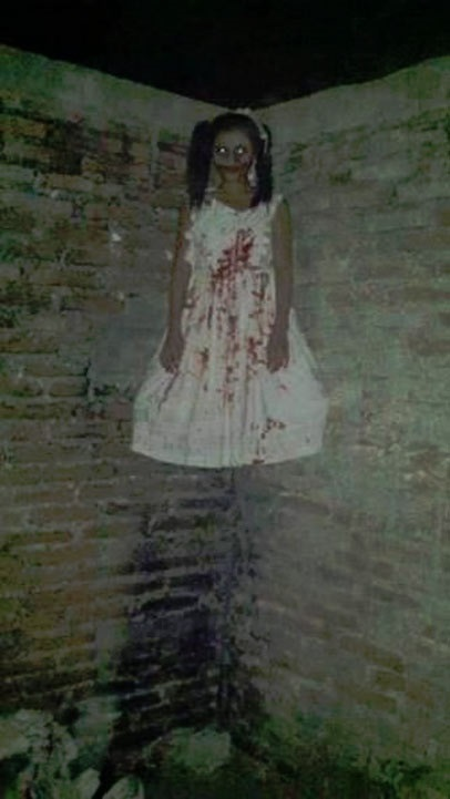 Floating ghostly girl at Jackson Square apartments