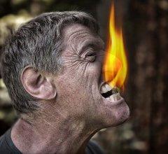 scary burning redneck man