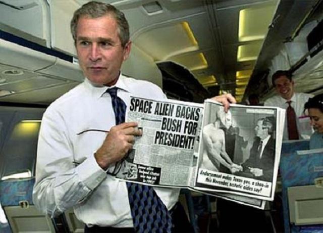 George Bush aliens magazine