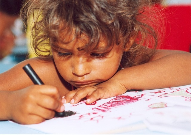 Little girl coloring