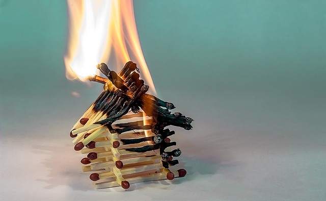 Matches burning in pile