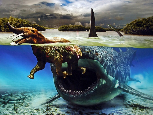 Prehistoric double tusked elephant chased by Megalodon