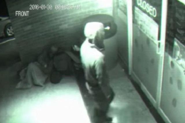 Mystery figure steps through locked store door
