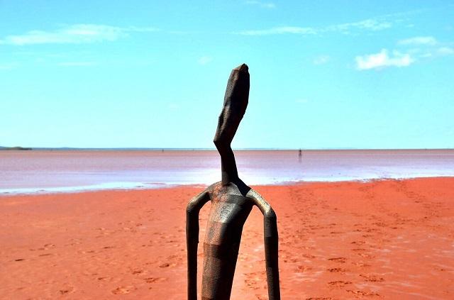 Strange statues stand in Australian Lake