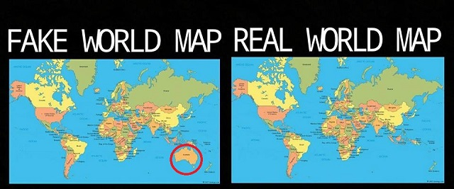 Fake and real world map