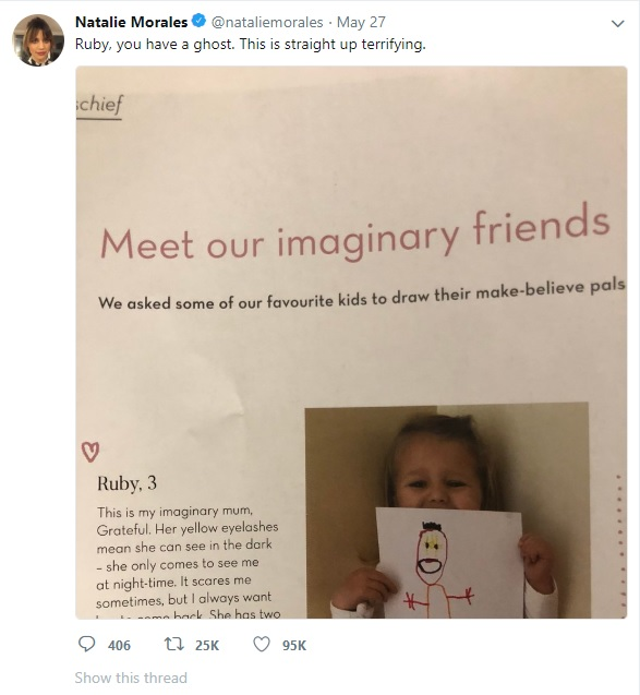 Natalie Morales Ruby 3 imaginary friend tweet