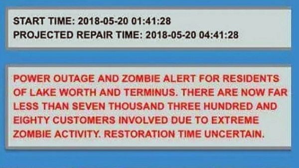 zombie alert message Lake Worth Florida
