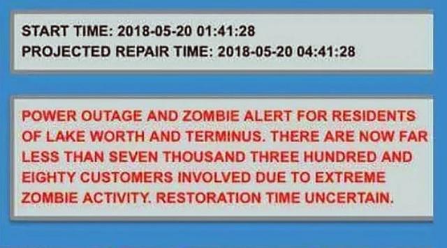 zombie alert message Lake Worth Florida