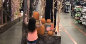 Little Girl Dances With Mike Myers Halloween display