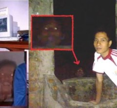 Seen in both of these photos, appears to be ghostly looking heads. The exact town or city where these were taken isn't known but believed to be somewhere in Mexico. These were shared online and remain both bizarre and compelling. Most certainly, if anyone was sitting or standing near one of these, they would be freaked out fast! One photo was labelled as cabeza-de-fantasma, which translates to head-of-ghost. Both photos are believed to be taken in the late night hours. Why these ghost heads appeared isn't known. Most certainly, these have been laughed off as fakes but it isn't known for sure just yet. There are so many things that happen in the world, that defy logical explanation. The first photo, shows a young man sitting down by his computer, with one bare foot and his leg crossed. The phantom faced fiend, seems to be snickering with gleeful delight. There is a zoomed in smaller second photo, that displays the face in somewhat closer detail. As seen, there appears to be a darker shadow behind the head. The object around the head seem to stand out. The head seems transparent like that of a ghost. Was this the spirit of someone that knew this young man in life? Of course, this could be more of a haunting type scenario. Why this haunted head torments this young man, is quite a mystery. The second photograph appears to show another head. Only this time it was captured outdoors by what appears to be a well of some sort. Conclusions lead one to believe, that someone may have died here and their restless spirit lingers behind. This phantom type head seems more difficult to believe. Was this someone simply wearing a mask of some sort? It is really creepy regardless. As seen in the other photo, the eyes appear to be glowing as well. Both of these obscure photos may be evidence of something paranormal happening. However, just like with many things it is difficult to believe. One theory about spirits lingering behind is, they are bound here in our world by something. Whethe