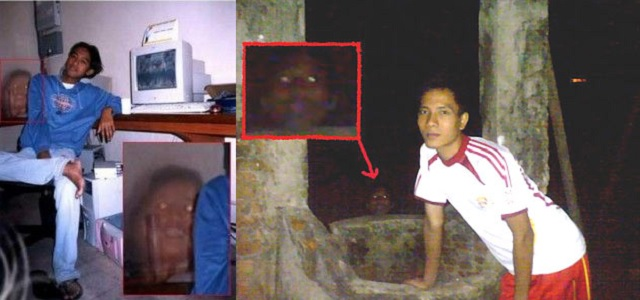Seen in both of these photos, appears to be ghostly looking heads. The exact town or city where these were taken isn't known but believed to be somewhere in Mexico. These were shared online and remain both bizarre and compelling. Most certainly, if anyone was sitting or standing near one of these, they would be freaked out fast! One photo was labelled as cabeza-de-fantasma, which translates to head-of-ghost. Both photos are believed to be taken in the late night hours. Why these ghost heads appeared isn't known. Most certainly, these have been laughed off as fakes but it isn't known for sure just yet. There are so many things that happen in the world, that defy logical explanation. The first photo, shows a young man sitting down by his computer, with one bare foot and his leg crossed. The phantom faced fiend, seems to be snickering with gleeful delight. There is a zoomed in smaller second photo, that displays the face in somewhat closer detail. As seen, there appears to be a darker shadow behind the head. The object around the head seem to stand out. The head seems transparent like that of a ghost. Was this the spirit of someone that knew this young man in life? Of course, this could be more of a haunting type scenario. Why this haunted head torments this young man, is quite a mystery. The second photograph appears to show another head. Only this time it was captured outdoors by what appears to be a well of some sort. Conclusions lead one to believe, that someone may have died here and their restless spirit lingers behind. This phantom type head seems more difficult to believe. Was this someone simply wearing a mask of some sort? It is really creepy regardless. As seen in the other photo, the eyes appear to be glowing as well. Both of these obscure photos may be evidence of something paranormal happening. However, just like with many things it is difficult to believe. One theory about spirits lingering behind is, they are bound here in our world by something. Whether this is another person or an object of some kind, the result is the same it seems. These spirits are troubled by something that happened to them. They are in limbo as they linger around waiting to move on into the afterlife. Perhaps someone out there knows more about these photos, if so please contact us.