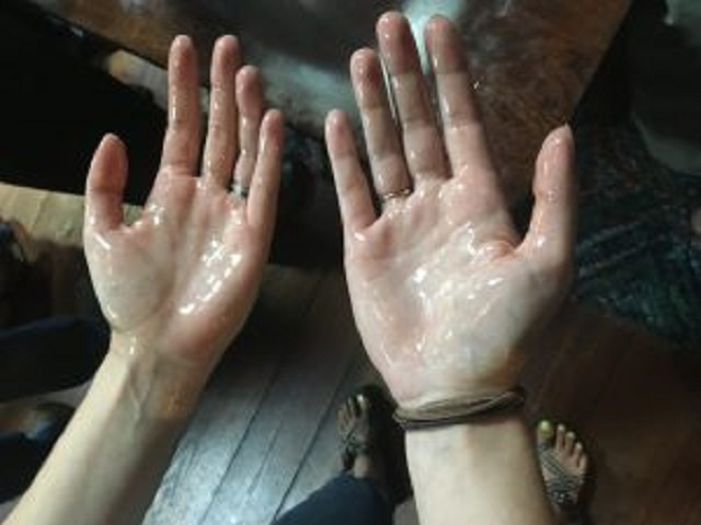 Oil on Hands Bible