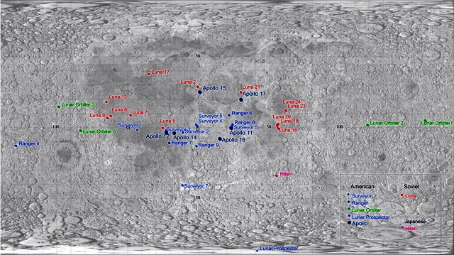 Moon Map Showing Known Crash Debris