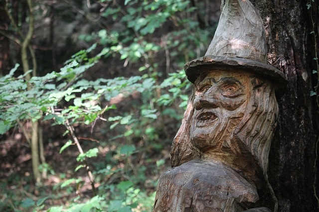 Carved witch in tree