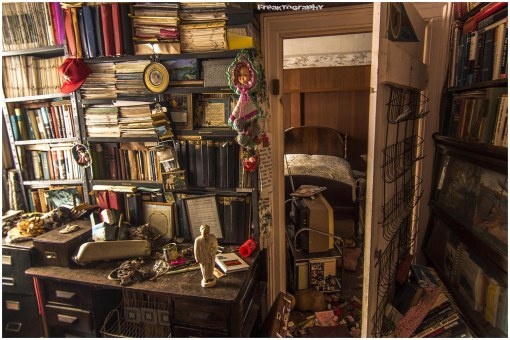 Library in the bedroom of an abandoned house