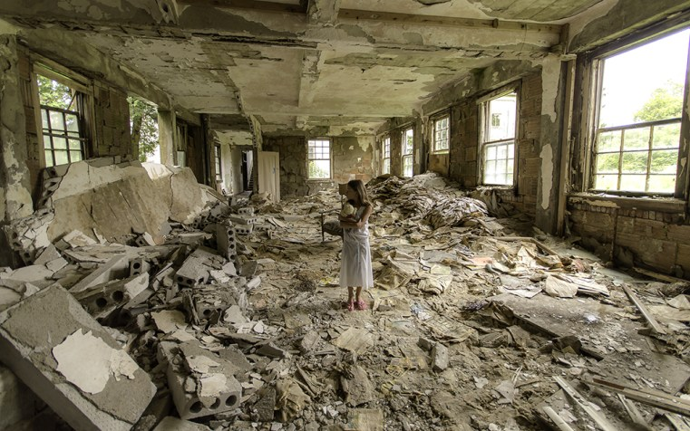 Little Girl in abandoned poorhouse by Freaktography
