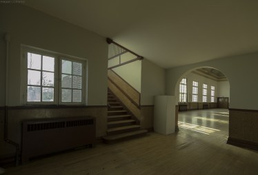 The long abandoned and unused recreation hall in an Abandoned Ontario Psychiatric Hospital