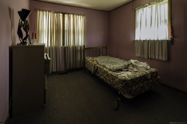 A young girls bedroom inside an abandoned house in Ontario.