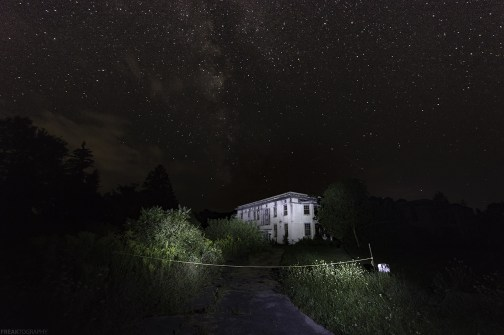 Night Photography with the Milky Way over an abandoned building in New York State