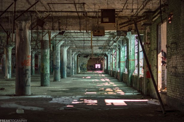 The immediately recognizable green hue from this spectacular abandoned factory in Detroit.