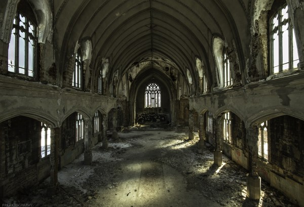 An abandoned Detroit Cathedral. I almost don't even want to call this a church or a cathedral, it is really just a shell of a building. The scrappers have now resorted to removing rebar from the pillars.