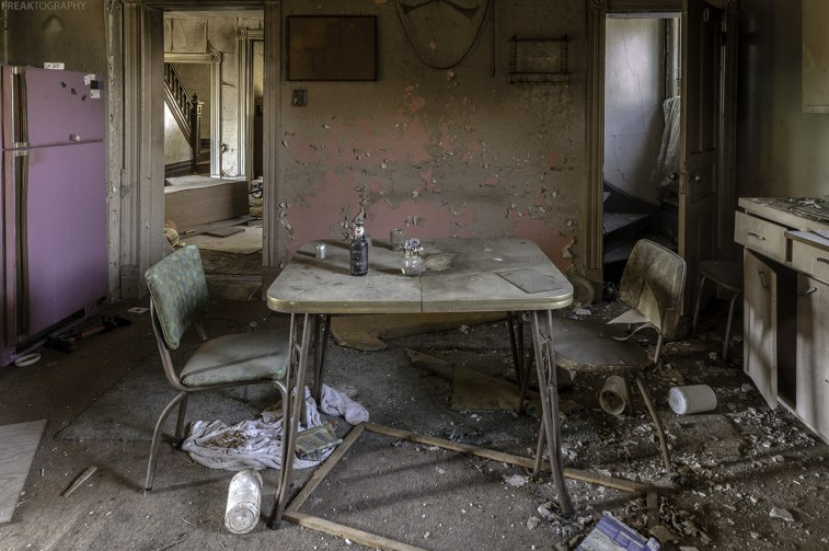 A kitchen scene inside an old abandoned ontario house.