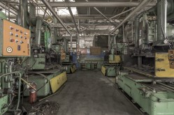 Inside a vacant automotive factory that was the lifeblood of a community for many years.