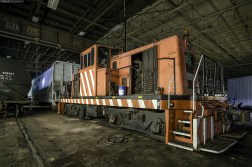 While exploring a large abandoned industrial facility we stumbled upon a train engine. Turns out that 5% of this building is used for painting train cars.