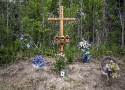A Roadside Memorial along Highway 20 in Pelham, Ontario for three young men named Justin Morin, Dennis Falletta, Zoran Mraovic