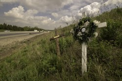 Roadside Memorial in Kitchener, Ontario for Dale Boeru, who was known as a champion of the Canadian Drag Racing scene.