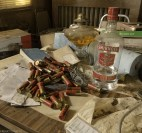 Shotgun Shells and a bottle of vodka found in the kitchen of an abandoned house.