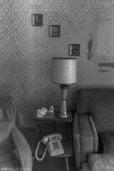Freaktography, abandoned, abandoned photography, abandoned places, black and white, creepy, decay, derelict, haunted, haunted places, lamp, photography, telephone, urban exploration, urban exploration photography, urban explorer, urban exploring, wall frames, wallpaper